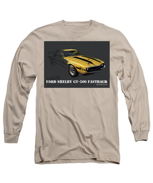 Ford Shelby Gt500 Fastback, Yellow And Black Original Art Print Long Sleeve T-Shirt