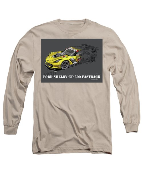 Ford Shelby Gt500 Fastback, Yellow And Black Sketch Long Sleeve T-Shirt