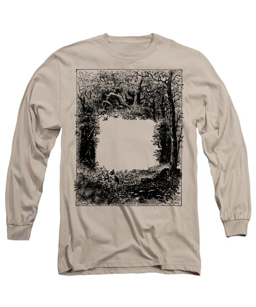 Forest Frame Dictionaryart Trees Ink Artwork  Long Sleeve T-Shirt