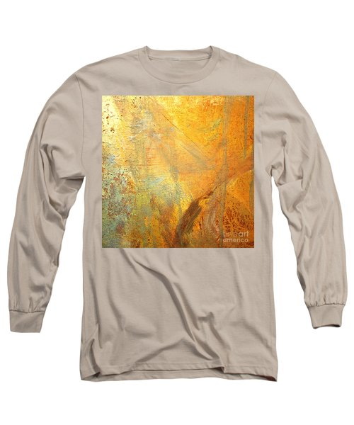 Long Sleeve T-Shirt featuring the mixed media Forest Gold by Michael Rock