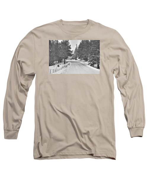 Forest Road In The Snow Long Sleeve T-Shirt