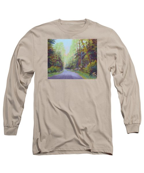 Long Sleeve T-Shirt featuring the painting Forest Road by Nancy Jolley