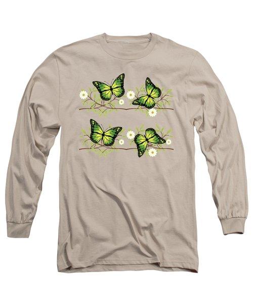 Four Green Butterflies Long Sleeve T-Shirt by Gaspar Avila