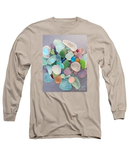 Four Marbles And A Rainbow Of Beach Glass Long Sleeve T-Shirt