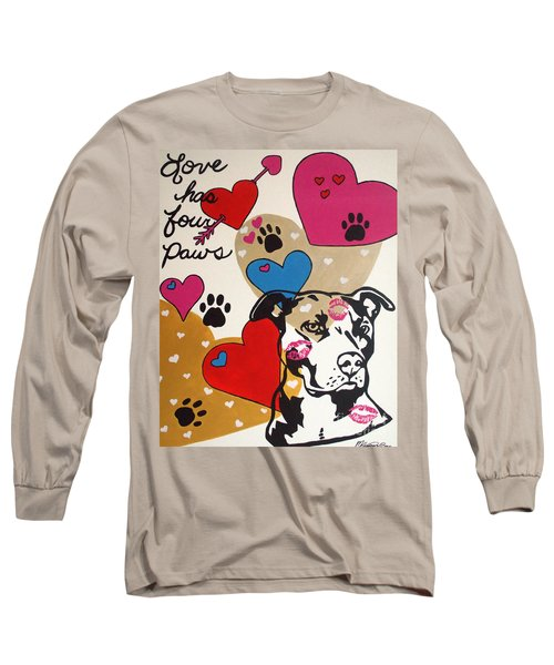 Four Pitty Paws Long Sleeve T-Shirt by Melissa Goodrich