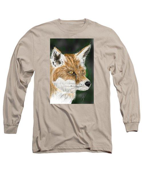 Long Sleeve T-Shirt featuring the digital art Fox by Darren Cannell