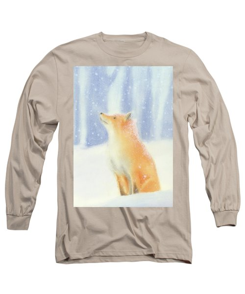 Long Sleeve T-Shirt featuring the painting Fox In The Snow by Taylan Apukovska