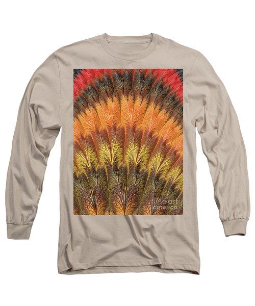 Fractalized Feather Fan Long Sleeve T-Shirt