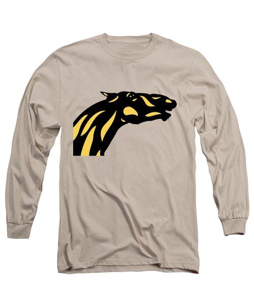 Fred - Pop Art Horse - Black, Primrose Yellow, Hazelnut Long Sleeve T-Shirt