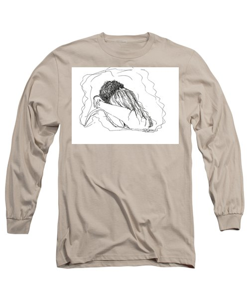 Long Sleeve T-Shirt featuring the drawing Free Hugs Bw by Denise Fulmer