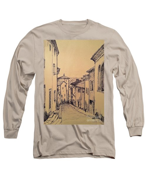 Long Sleeve T-Shirt featuring the drawing French Little Town Drawing by Maja Sokolowska