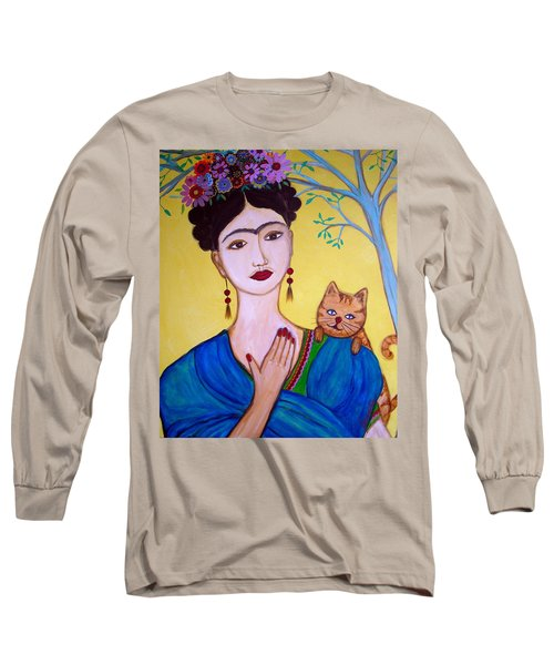 Long Sleeve T-Shirt featuring the painting Frida And Her Cat by Pristine Cartera Turkus