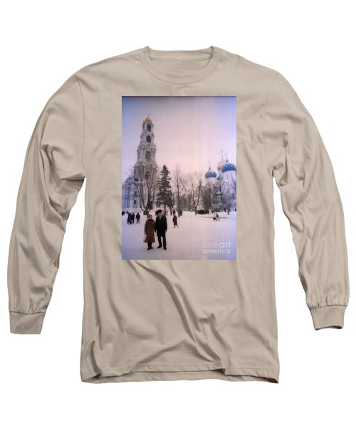 Friends In Front Of Church Long Sleeve T-Shirt by Ted Pollard