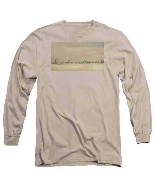 Long Sleeve T-Shirt featuring the painting Friesland Under Snow by Annemeet Hasidi- van der Leij