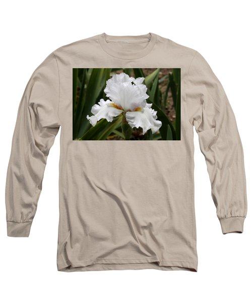 Frilly White Iris Flower Long Sleeve T-Shirt