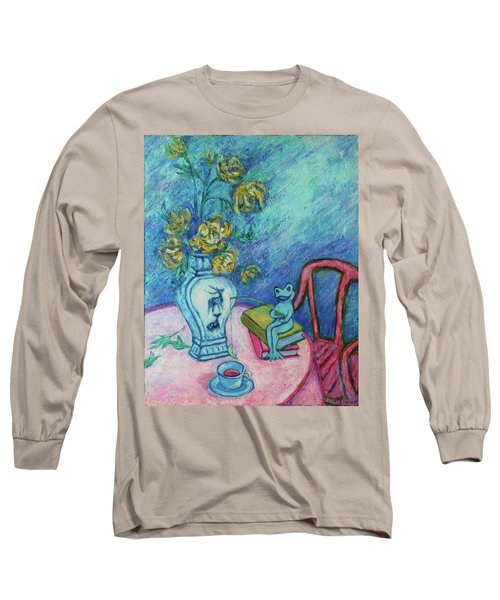 Long Sleeve T-Shirt featuring the painting Frog Fishing Under Chrysanthemums by Xueling Zou