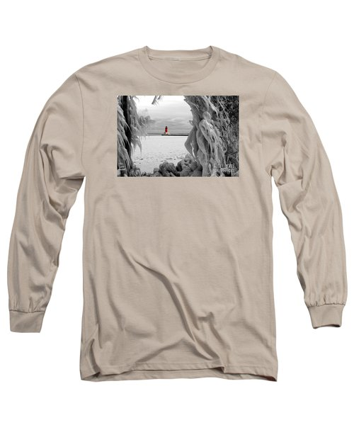 Long Sleeve T-Shirt featuring the photograph Frozen In Time - Menominee North Pier Lighthouse by Mark J Seefeldt