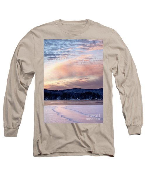 Frozen Lake Sunset In Wilton Maine  -78096-78097 Long Sleeve T-Shirt