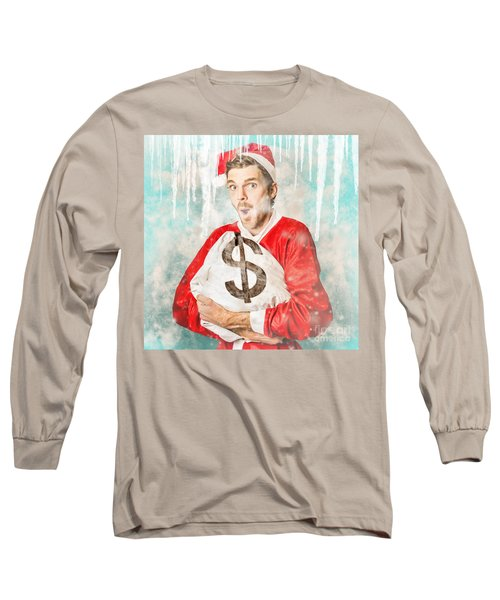 Frozen Santa Saving With Ice Cold Price Drop Long Sleeve T-Shirt