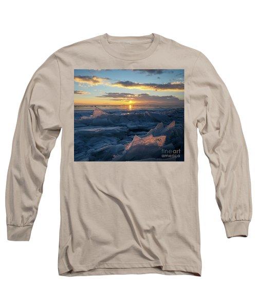 Frozen Sevan Lake And Icicles At Sunset, Armenia Long Sleeve T-Shirt by Gurgen Bakhshetsyan