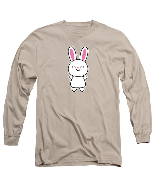 Funny Cute Rabbit Bunny In Pink Long Sleeve T-Shirt by Philipp Rietz