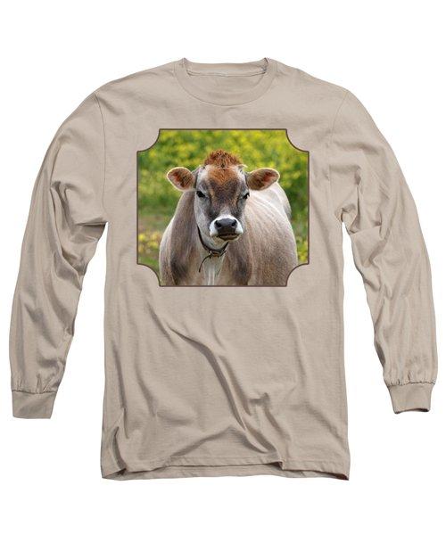 Funny Jersey Cow - Horizontal Long Sleeve T-Shirt by Gill Billington