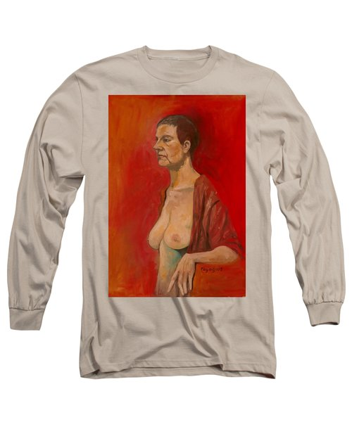 Long Sleeve T-Shirt featuring the painting Gabrielle Standing by Ray Agius