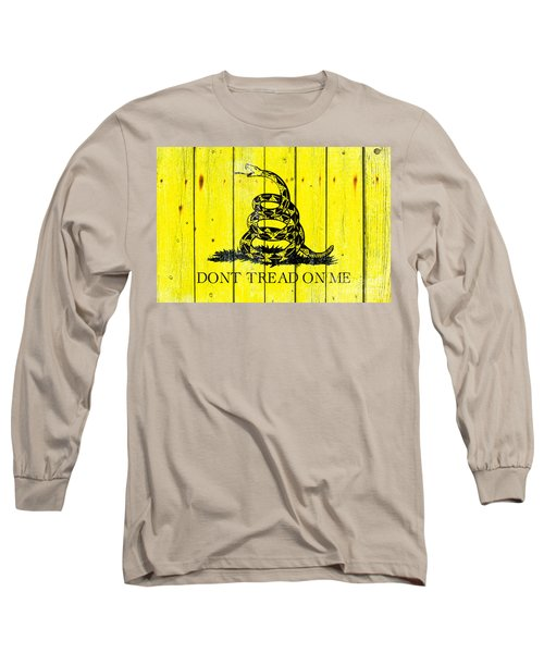 Gadsden Flag On Old Wood Planks Long Sleeve T-Shirt by M L C