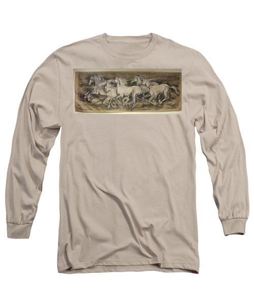 Galloping Stallions Long Sleeve T-Shirt by Debora Cardaci