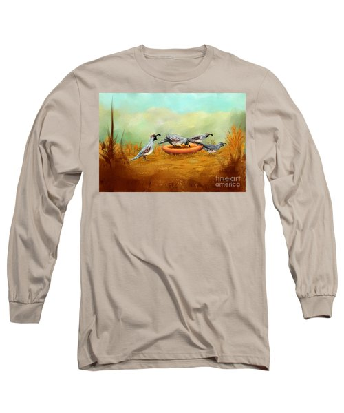 Long Sleeve T-Shirt featuring the painting Gambel's Quail On Parade by Judy Filarecki