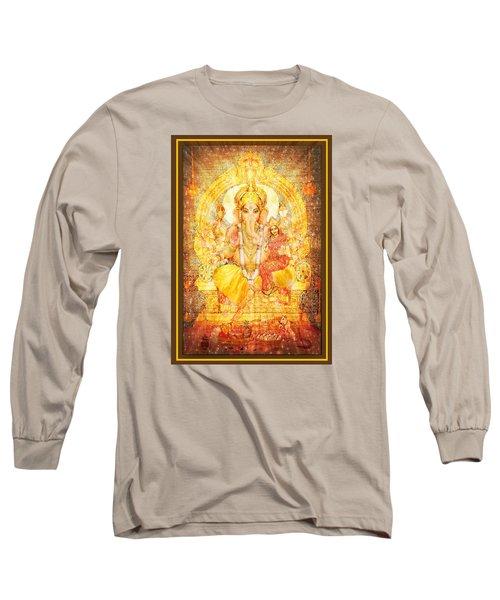 Ganesha Ganapati  Long Sleeve T-Shirt by Ananda Vdovic