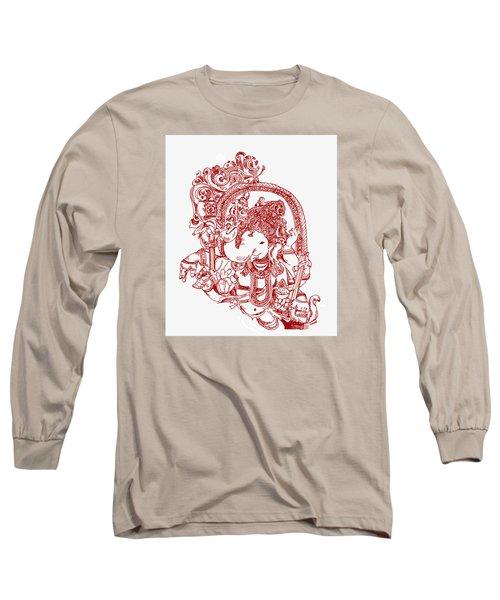 Ganesha Line Drawing Long Sleeve T-Shirt by Suhas Tavkar