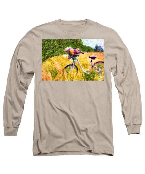 Garden Bicycle Print Long Sleeve T-Shirt by Tina LeCour
