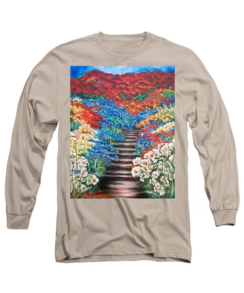 Long Sleeve T-Shirt featuring the painting Garden Cascade by Sigrid Tune