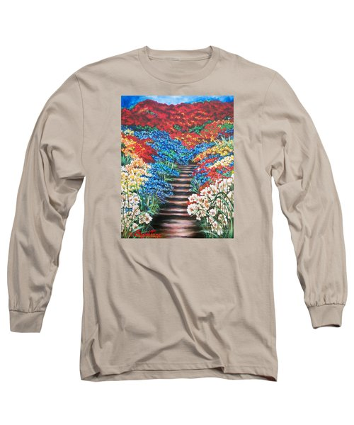Red White And Blue Garden Cascade.               Flying Lamb Productions  Long Sleeve T-Shirt