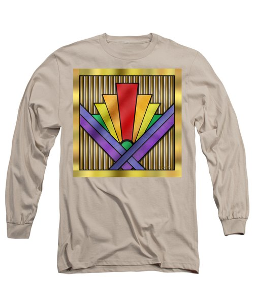 Rainbow Art Deco Long Sleeve T-Shirt by Chuck Staley