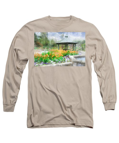 Gazebo With Tulips Long Sleeve T-Shirt by Francesa Miller
