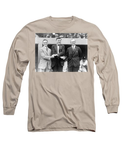 Long Sleeve T-Shirt featuring the photograph George Sisler - Babe Ruth And Ty Cobb - Baseball Legends by International  Images
