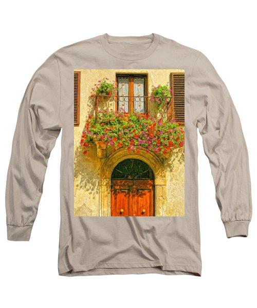 Gerani Coloriti Long Sleeve T-Shirt by Dominic Piperata