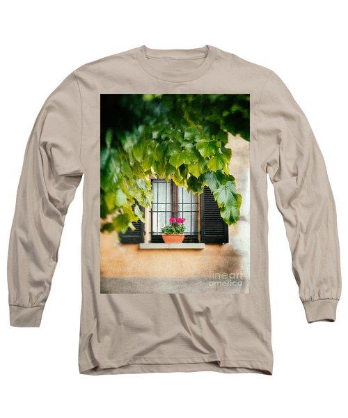 Long Sleeve T-Shirt featuring the photograph Geraniums On Windowsill by Silvia Ganora