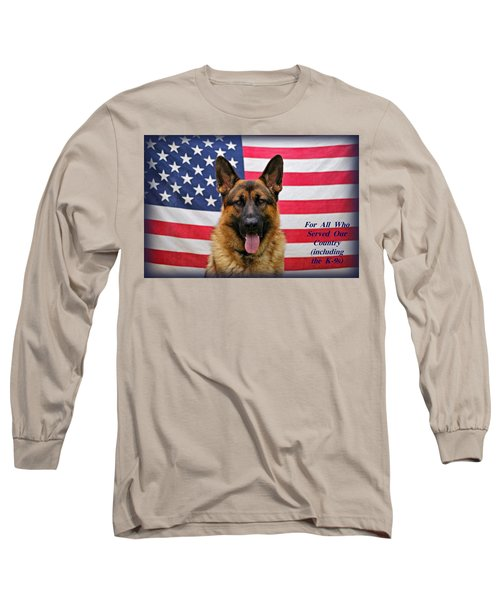 German Shepherd - U.s.a. - Text Long Sleeve T-Shirt by Sandy Keeton