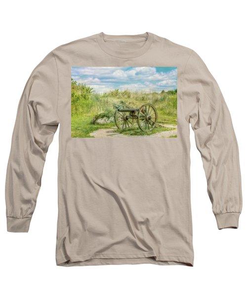 Long Sleeve T-Shirt featuring the digital art Gettysburg Battlefield Cannon Ver Two by Randy Steele