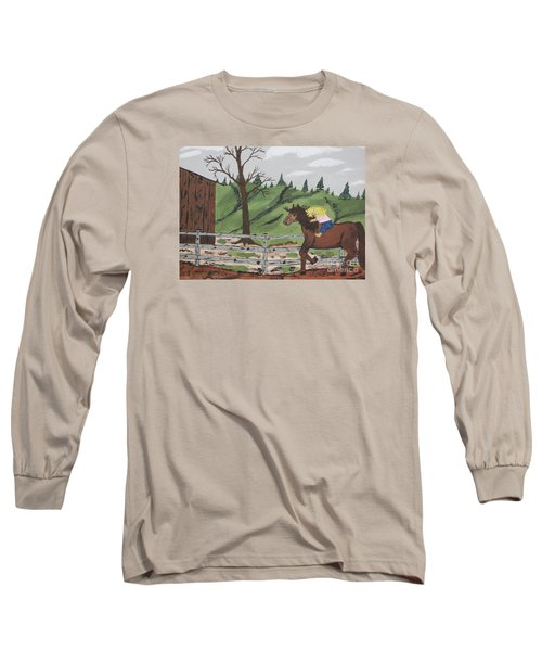 Long Sleeve T-Shirt featuring the painting Gianna Riding  Bareback by Jeffrey Koss