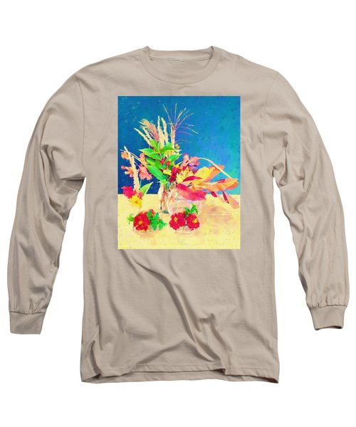 Long Sleeve T-Shirt featuring the digital art Gifts From The Yard Watercolor by Christina Lihani