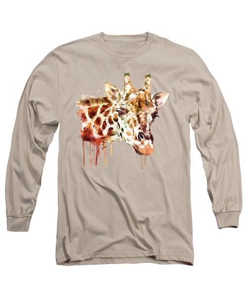 Giraffe Head Long Sleeve T-Shirt by Marian Voicu