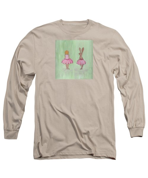 Girl And Bunny In Pink Tutus Long Sleeve T-Shirt