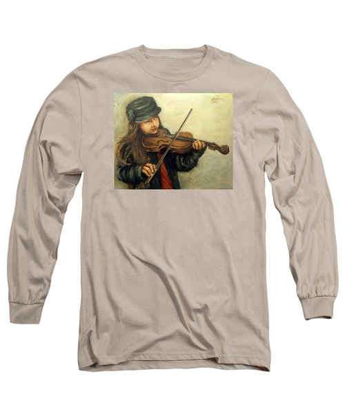 Girl And Her Violin Long Sleeve T-Shirt by Natalia Tejera