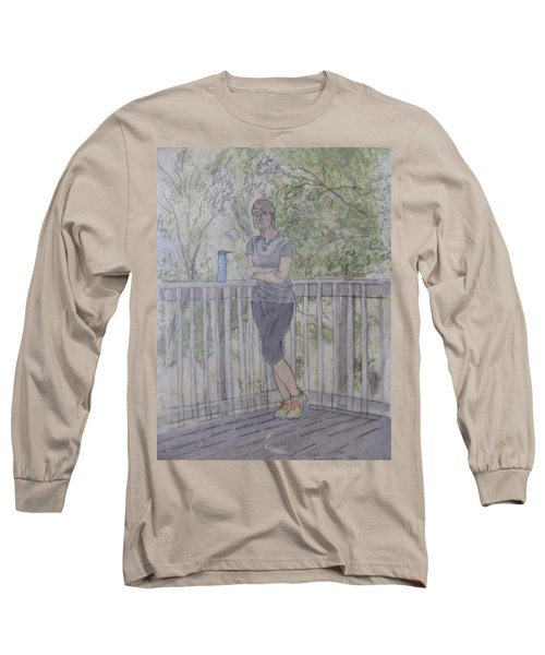 Long Sleeve T-Shirt featuring the painting Girl At The Mountain Top by Joel Deutsch
