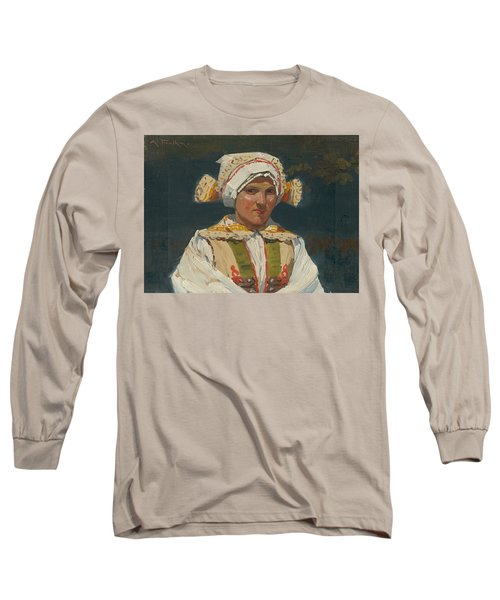 Girl In Costume, Antos Frolka, 1910 Long Sleeve T-Shirt