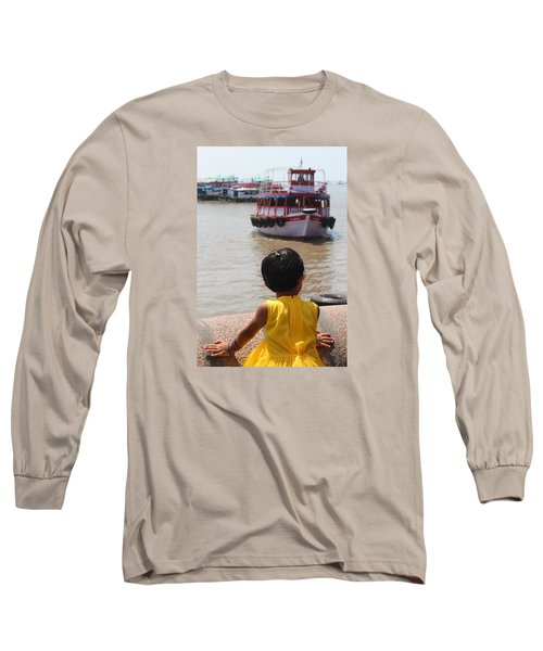 Girl In Yellow Dress W/leaf In Hair Looking At Boats Long Sleeve T-Shirt by Jennifer Mazzucco